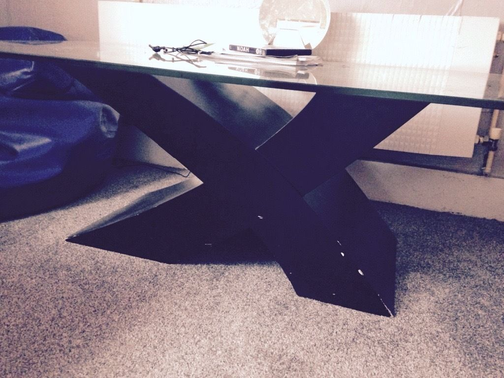 Black and glass coffee table
