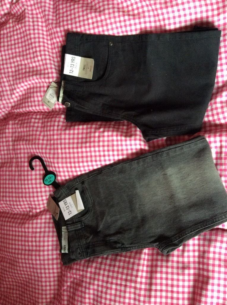 2 new with tags 12/13 yrs black jeans