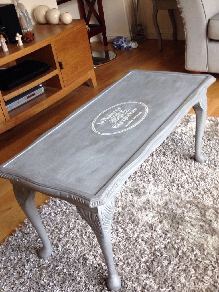 Hand restored coffee table with French motif