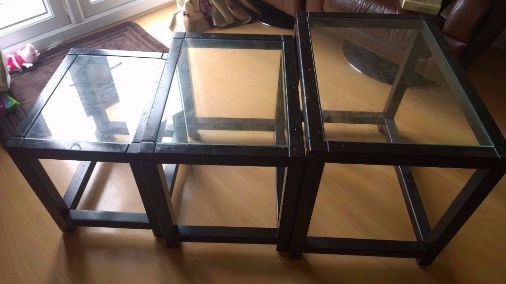 Nest of tables- IKEA- black brown with glass top- set of 3
