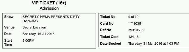 2 tickets secret cinema VIP dirty dancing london