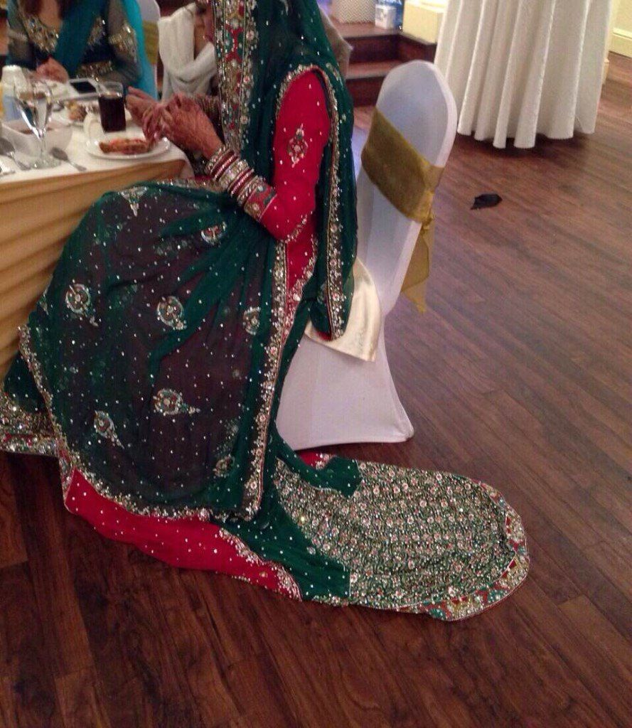 Red and Emerald Green 3 piece bridal dress with trail and lengha and dupatta in excellent condition!