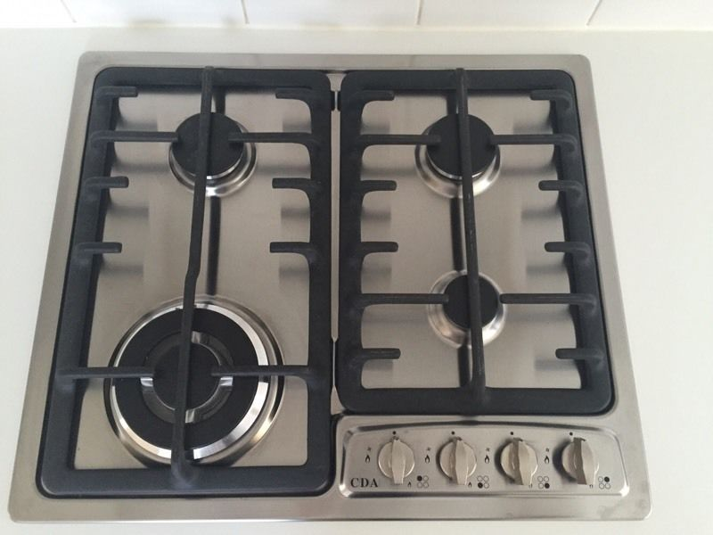 CDA Four Burner Gas Hob Stainless Steel