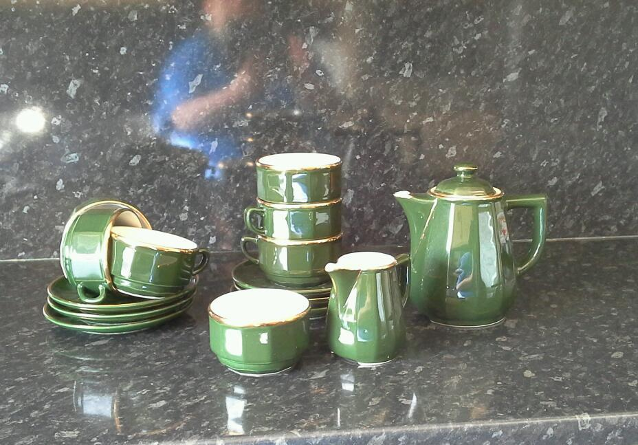 Apilco Green and Gold Coffee Set