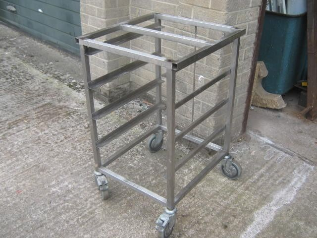 STAINLESS STEEL MOBILE KITCHEN / BAKERY TRAY TROLLEY