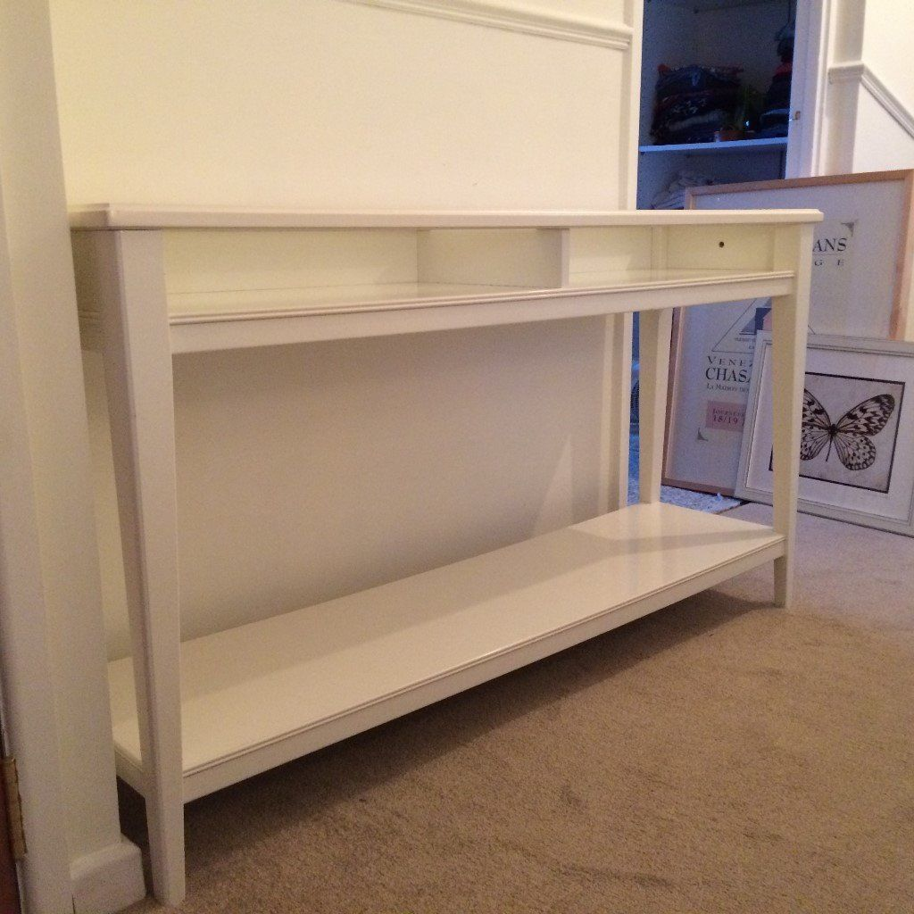 CONSOLE TABLE, WHITE, GLASS