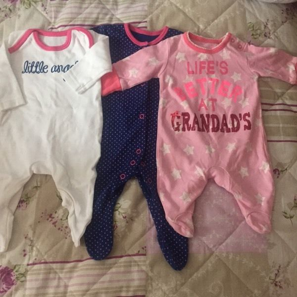 First size baby girl sleep suits X 3