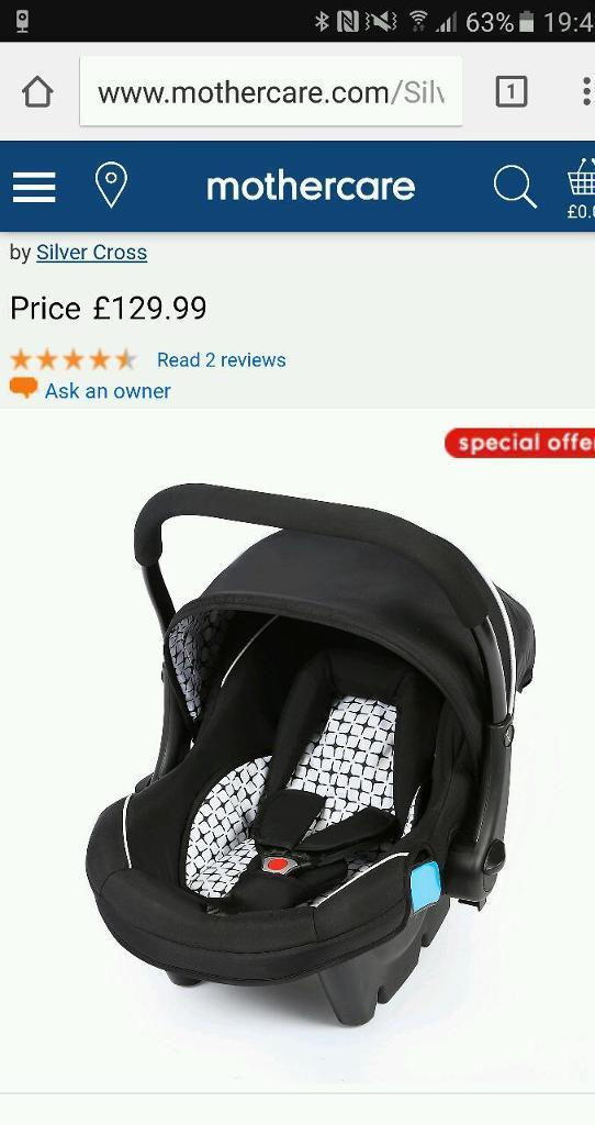 Silver Cross car seat and isofix Base.