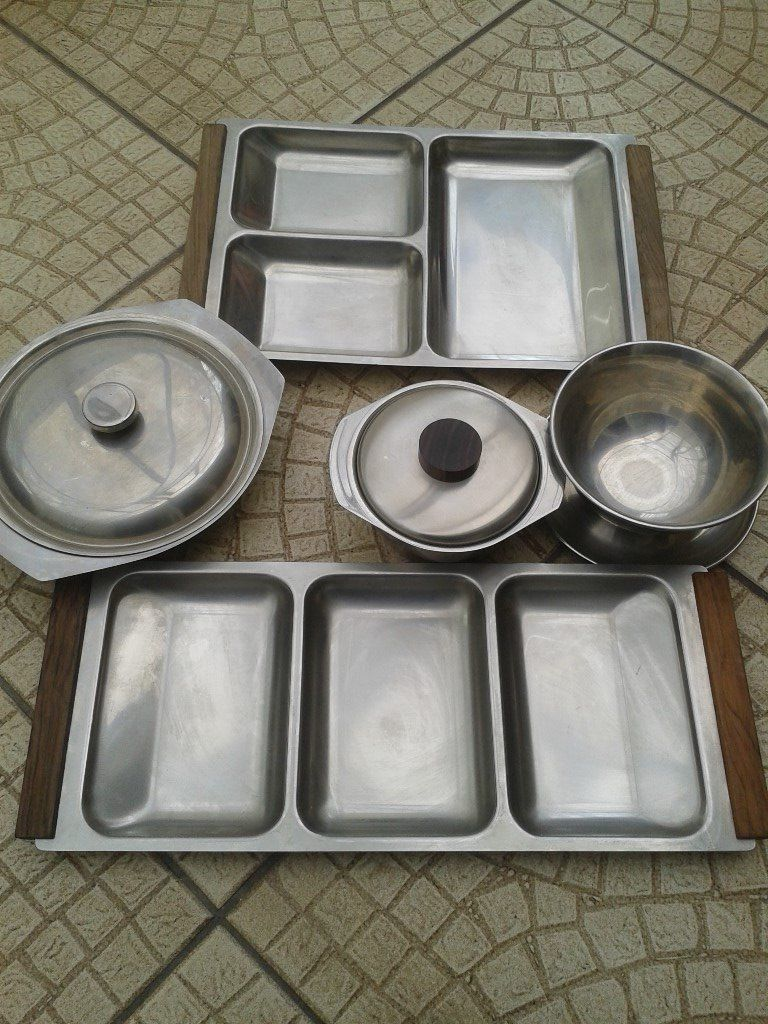 Selection of stainless steel serving dishes and bowls