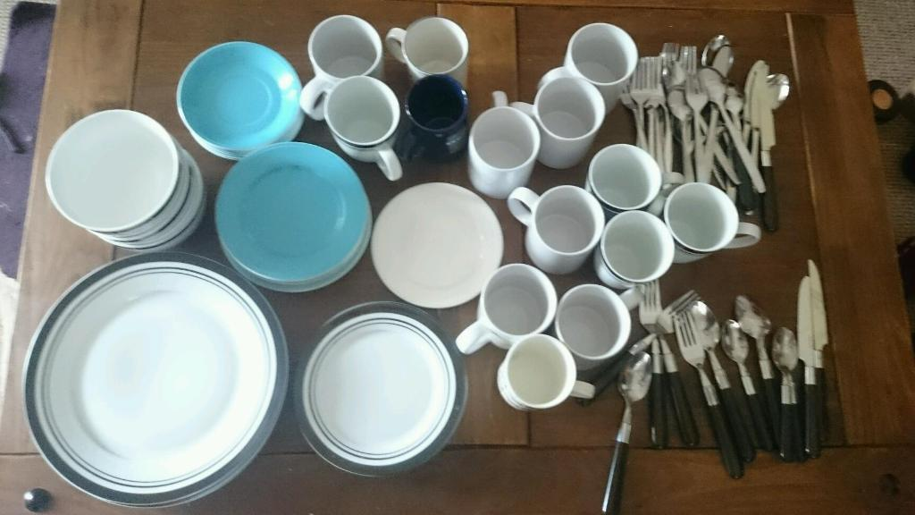 Cups, plates, bowls and cutlery