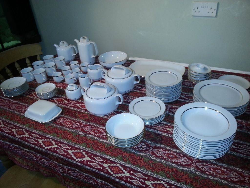 White bone china dinner set by Eshenbach, 70 pieces in total mint condition