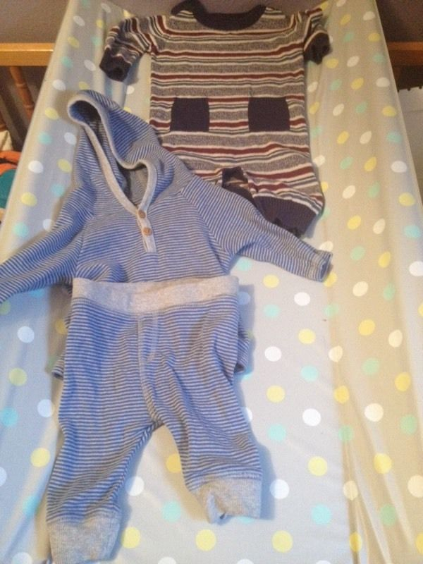 All in one and a tracksuit in 0-3 months for a baby boy