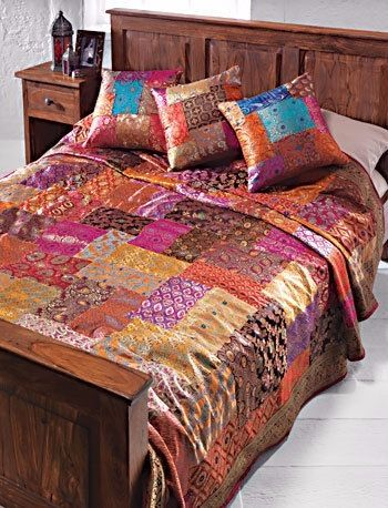 Brocade patchwork bedcover assorted colours