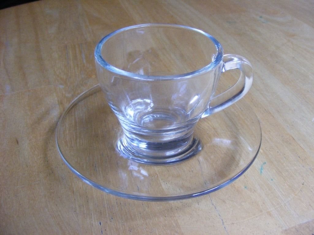 Small Glass Espresso Cup & Saucer