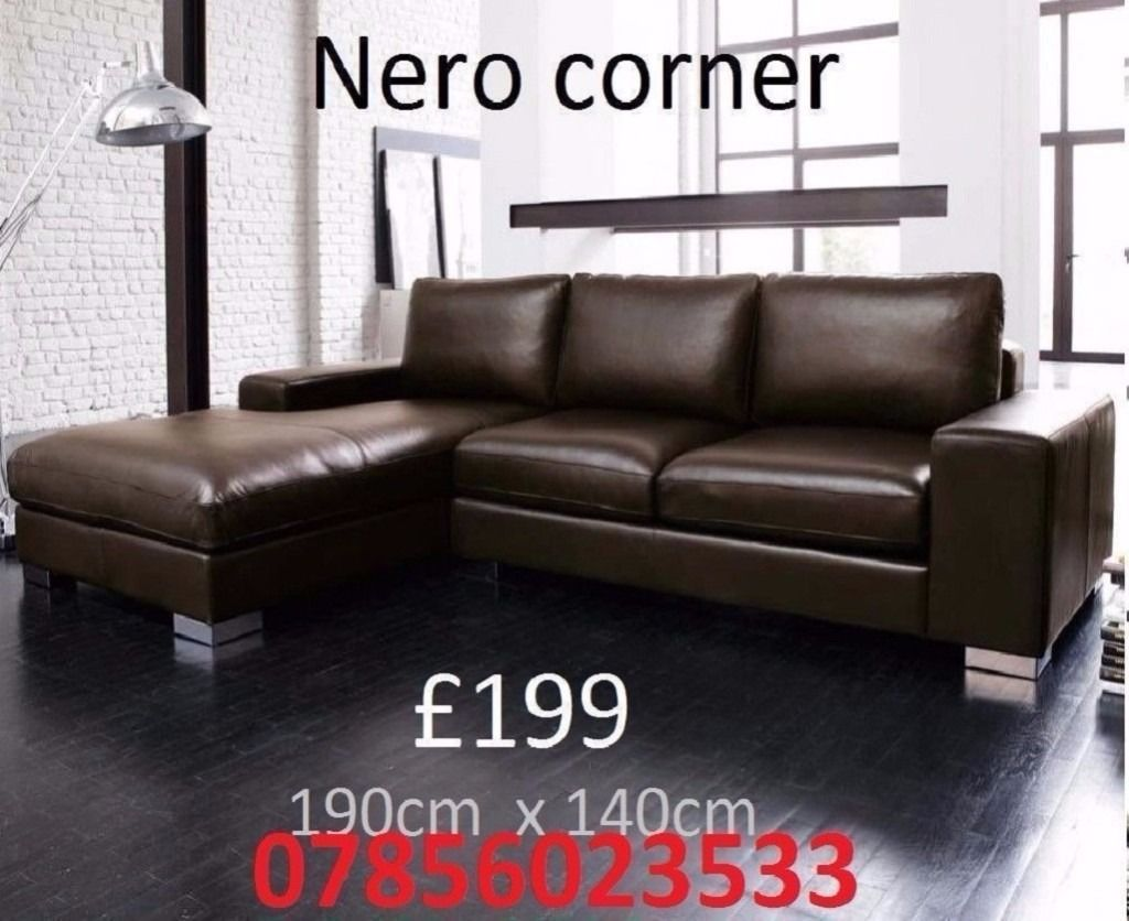 LEATHER FABRIC SOFA 3+2 CORNER GREY BLACK BROWN BRAND NEW