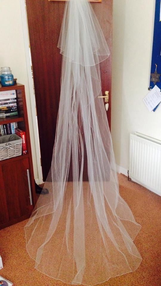 Beautiful long 2-tier veil with small crystals