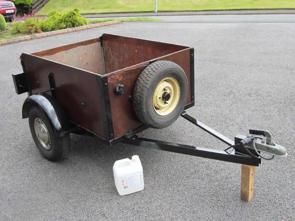 Car Trailer 4 x 3 with Drop Down/Removable Tail Gate. Rear Lights & Spare Tyre