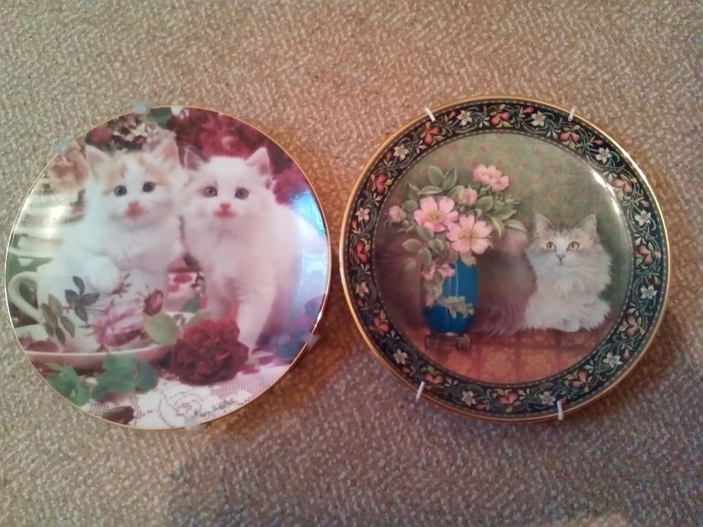 2 decorative plates of cats. Ex condition