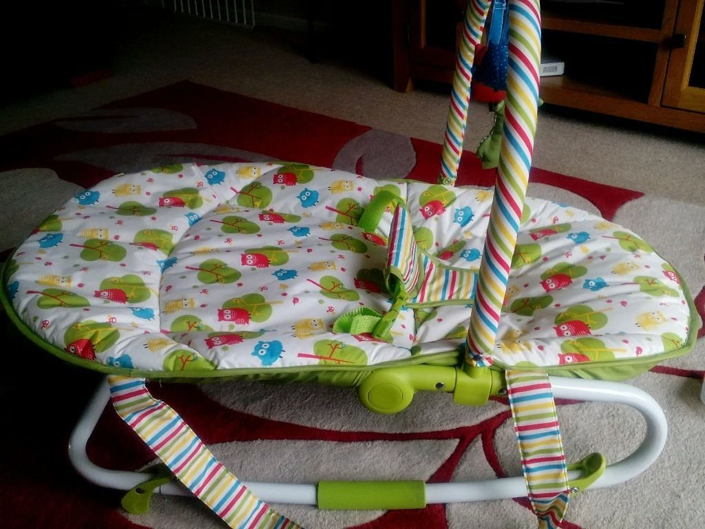 mothercare baby rocker, has stand position to use as an ordinary chair. detachable headrest.