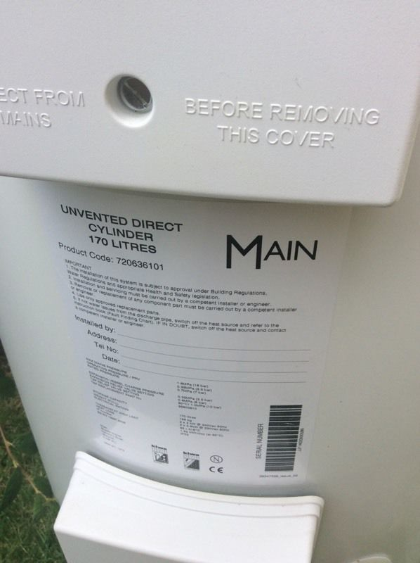 Mains electric cylinder water heater