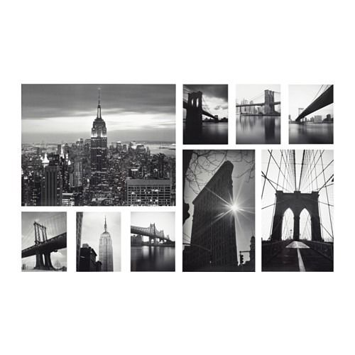 GRONBY Ikea picture frames set of 9, sights of the city
