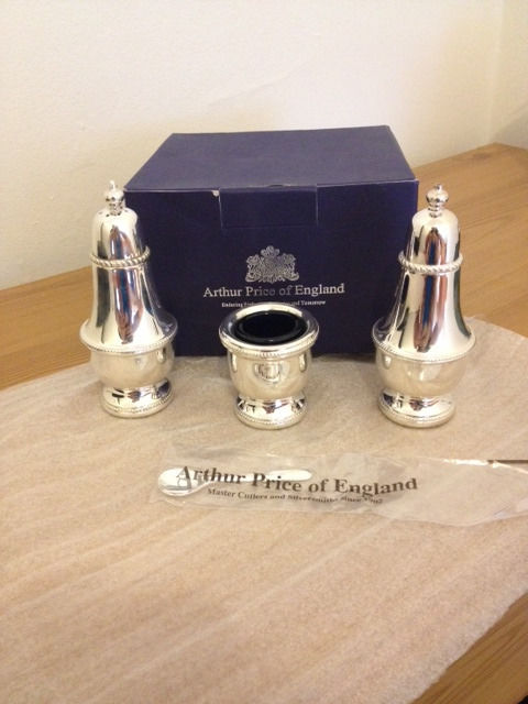 Arthur Price Three Piece Condiment Set - Silver Plated