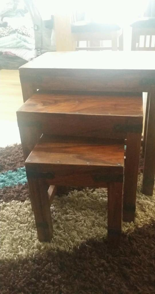 Wood side tables set of 3.