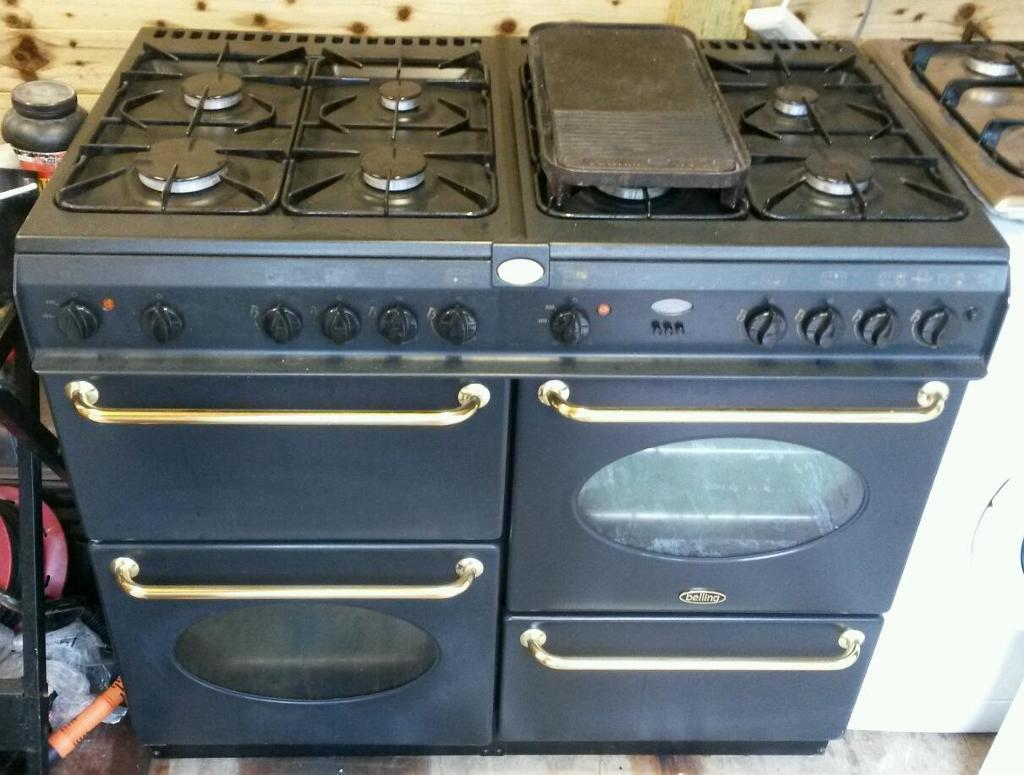 Belling rangemaster 100cm duel fuel range cooker in black and gold