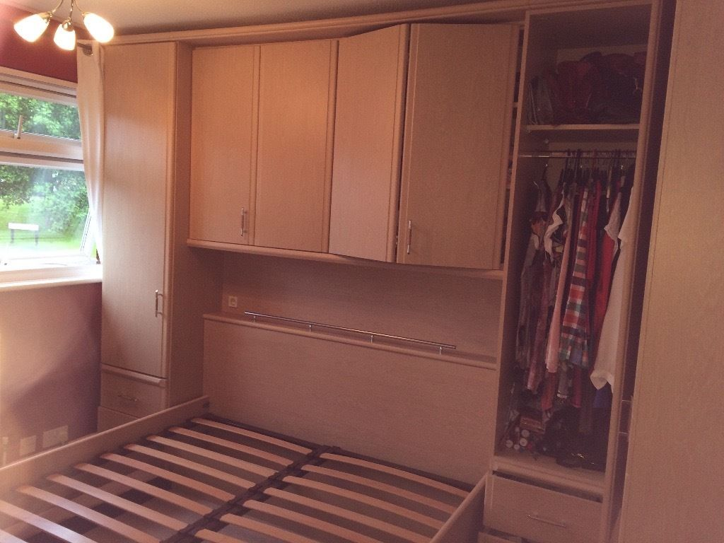free standing Wardrobe with storage with integral king size bed frame