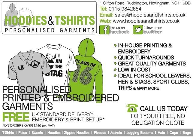 HOODIES AND T SHIRT PRINTING NOTTINGHAM - PERSONALISED GARMENTS