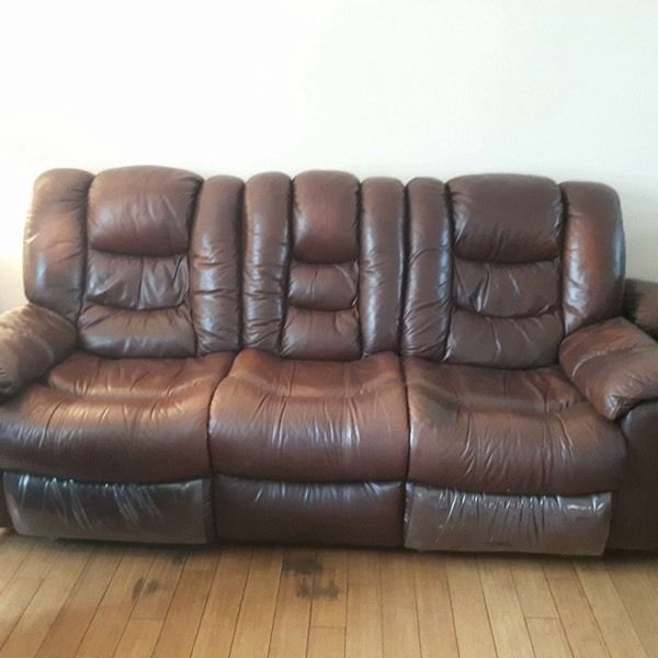 3&2 seater brown leather recliner couches and chair