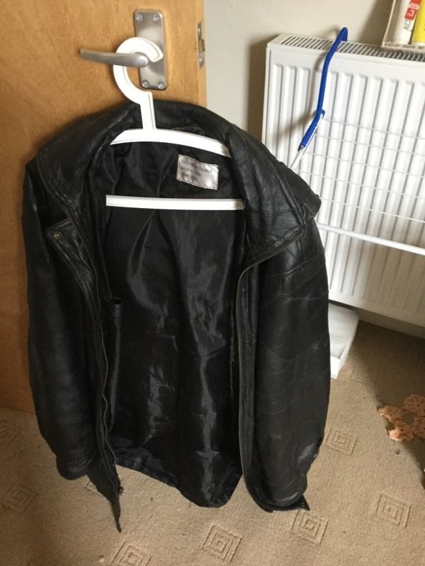 Black Leather coat patchwork pigskin made in China size xxl