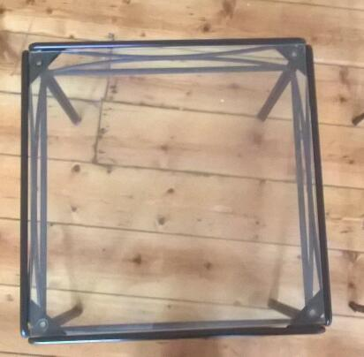 Glass and metal side tables