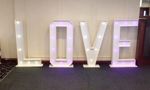 Giant illuminated love letters / wedding sign - light up in a choice of colours