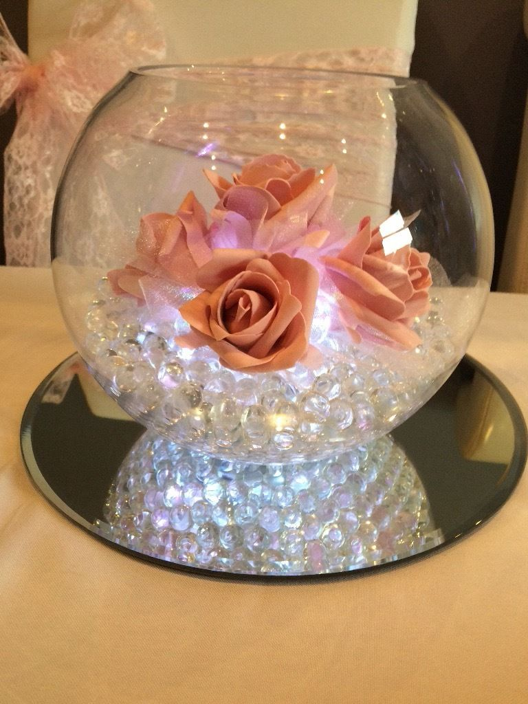 Wedding fish bowl centrepieces