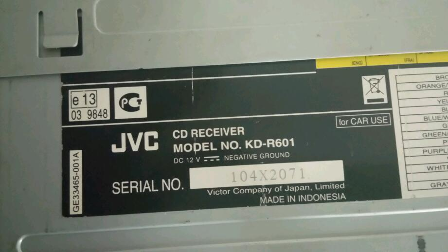 Jvc kd-r601 cd/mp3/aux/usb/