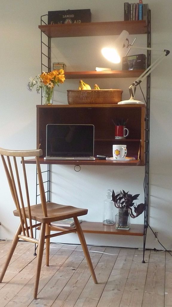 """String"" Unit. Demountable Retro Mid Century shelving unit with cabinet. Free Delivery Possible"