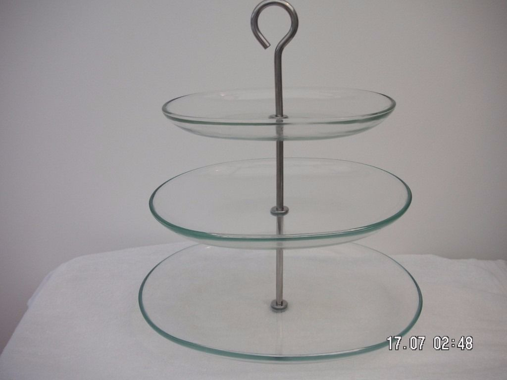 3 tier Clear Glass Serving Stand