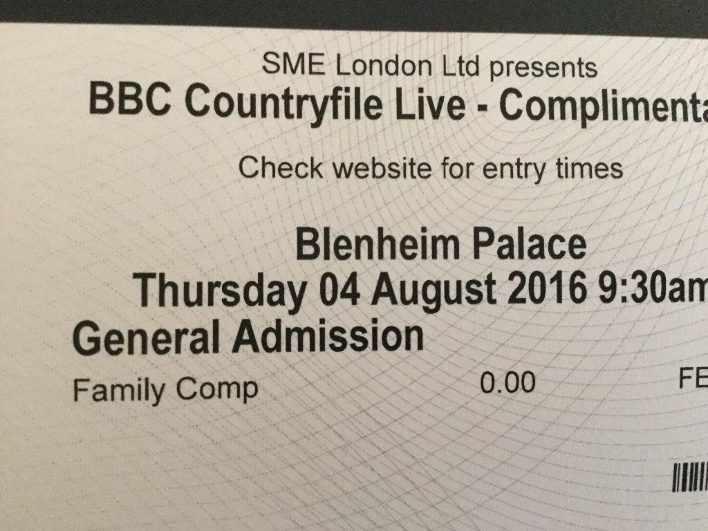 COUNTRYFILE LIVE AT BLENHEIM PALACE FAMILY TICKET THURS 4TH AUGUST