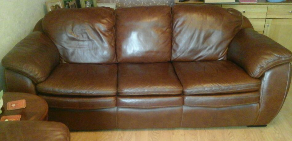 X 2 leather brown couches for sale.