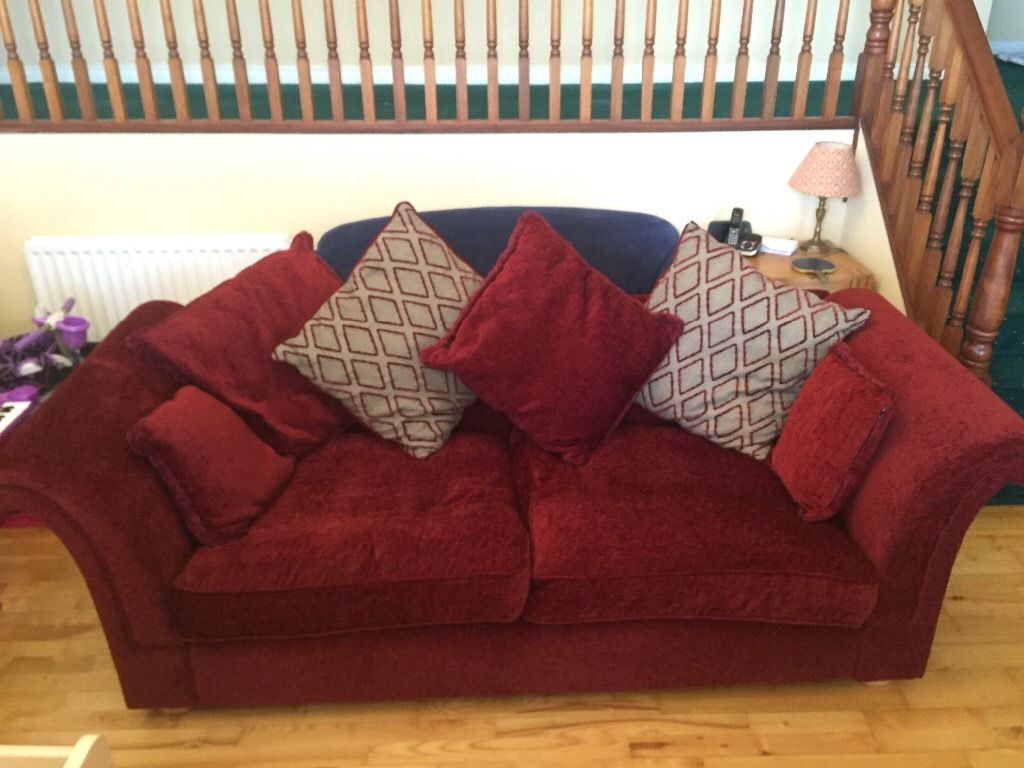 100% Genuine Dark Red Luxurious Sofa Suite (All Cushions Inc.)