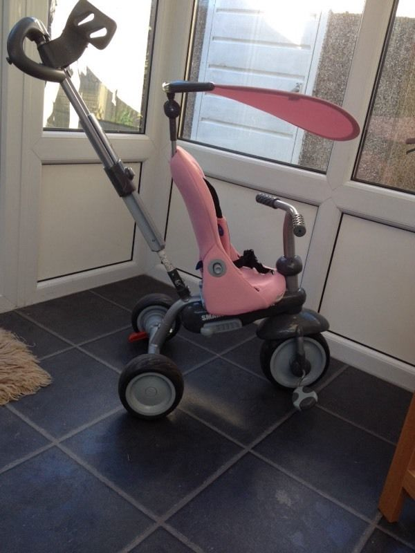 Immaculate pink smart trike with accessories