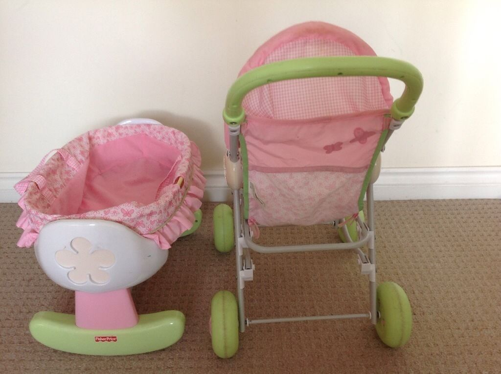 Fisher price dolls buggy and matching baby Moses basket from pet and smoke free home