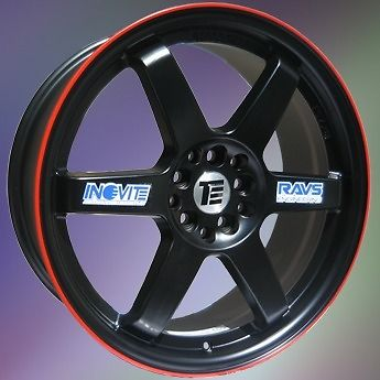 NEW 18'' INOVIT STVI ALLOY WHEELS BLACK RED LINE 4X100 4X108 VAUXHALL HONDA FORD MINI etc