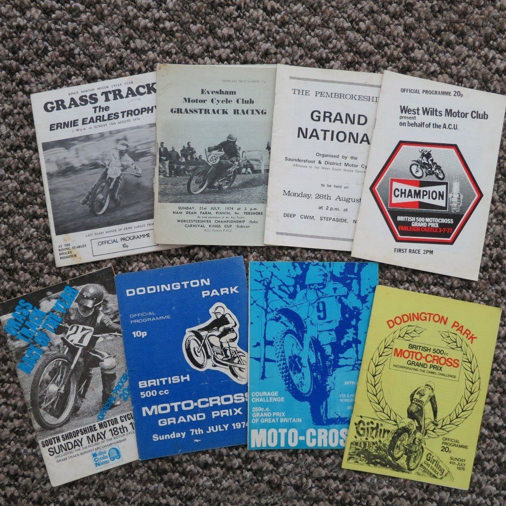 Moto Cross and Grass Track Programmes from 1970s