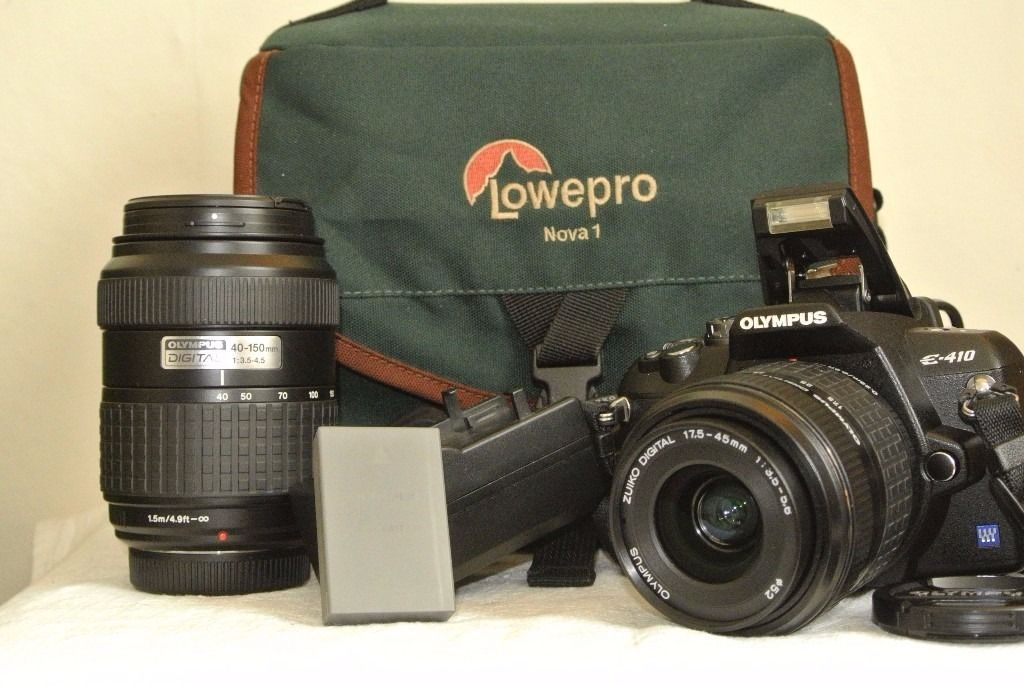 Olympus E-410 10mp Digital SLR Camera with 17.5-45mm & 40-150mm Lenses plus Extras