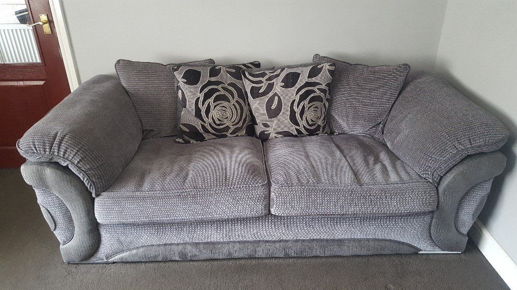 Serena 3 seater sofa, chair and nest of 3 footstools from Sofology
