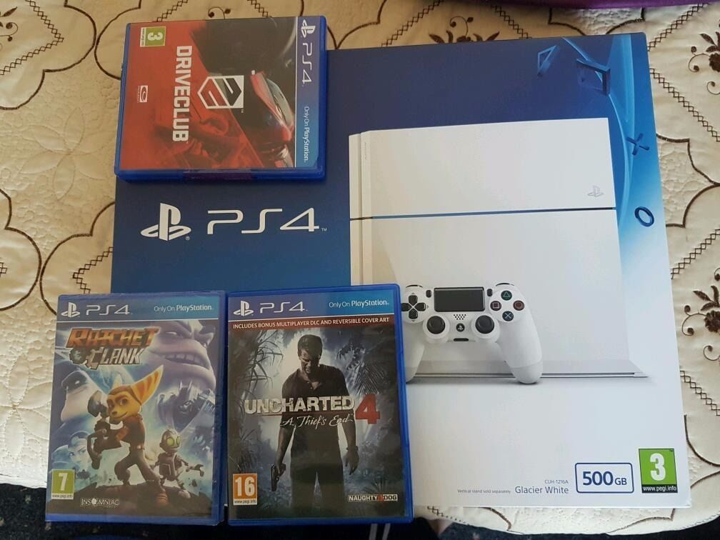 PS4 500gb White Boxed Like new + 3 latest games.