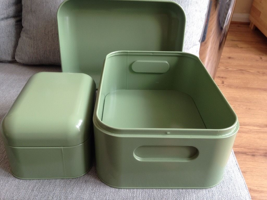 IKEA Storage metal box set in green