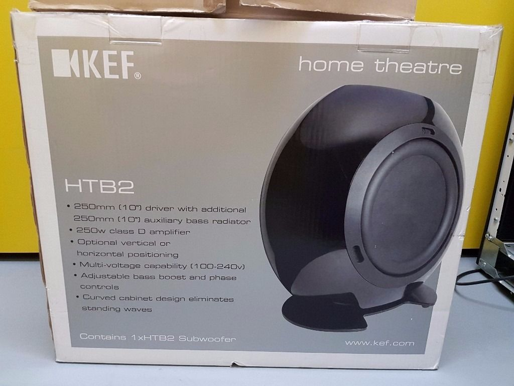 KEF Satelite Speakers, Centre Speaker & Subwoofer. Black